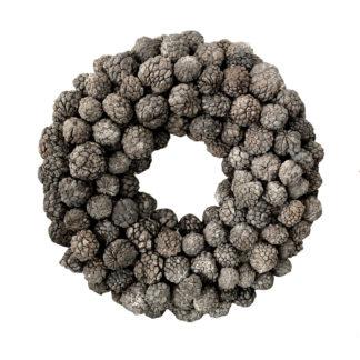Naturkranz Kranz grau shabby chic aus Atta Frucht aus getrockneten Früchten sehr edel Dekokranz Türkranz grau Tischkranz Adventskranz Weihnachtskranz