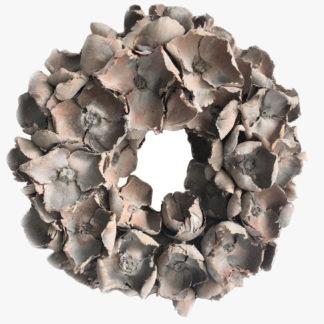 Kranz Türkranz Naturkranz Blütenkranz grau beige shabby chic Palmblüten Adventskranz Osterkranz Tischkranz grau beige wash Finish