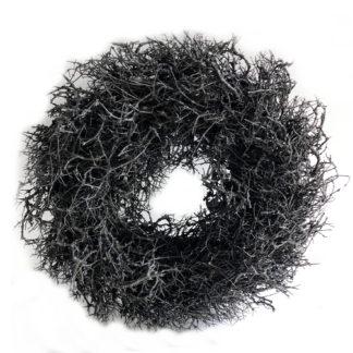 Kranz Naturkranz schwarz anthrazit gewachst Äste Wurzeln Dekokranz Türkranz Tischkranz schwarz Wandkranz Weihnachtskranz schwarz Ø 45 cm Adventskranz