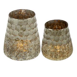 Teelicht silber gold in Form von einer Honigwabe honeycomb crashed Glas