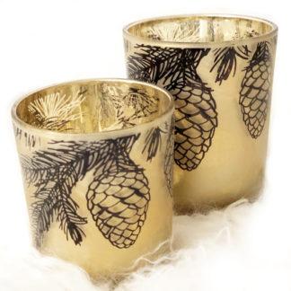 Teelichthalter Windlicht Tannenzapfen Pinie gold schwarz Glas Winterzeit Zapfen Pinie Eichel gold schwarz warmes Licht