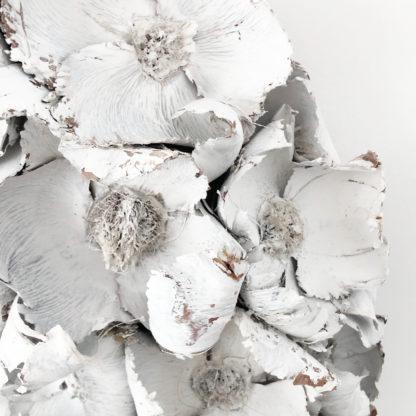 Kranz Türkranz Palm Blume weiß Naturkranz Blütenkranz WEIß GRAU shabby chic Palmblüten Adventskranz Osterkranz Tischkranz weiß Finish Herbstkranz Wandkranz Sommerkranz Dekokranz weiß