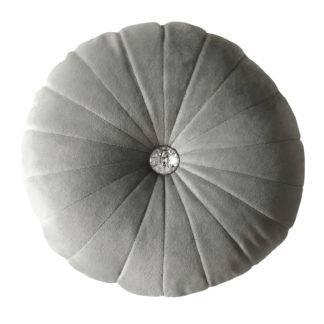 Kissen Samt weiß grau schwarz blau mit Strass-Stein edel verarbeitet kleines Zierkissen rund Kissen Samt rund mit Strass