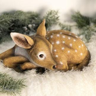 Reh Rehkitz Figur Dekofigur sitzend Rehkitz Bambi Hirsch Hirschgeweih Jagd Reh Bambi im Wald Herbst reale Nachbildung Winter Tierfigur Skulptur Reh Rehkitz