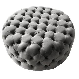 Samt Hocker grau Samt Pouff grau edel verarbeitet Sitzpouf Sitzhocker 90 cm XL Velvet Pouf