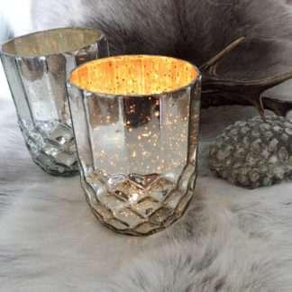 Teelichthalter silber antik Bauernsilber Glas Zapfenform Pinie Eichel silber Weihnachten Herbst Lichtschein Teelicht