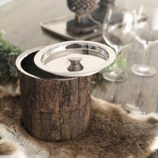Eiskübel Eisbehälter Eiskühler mit Deckel silber Edelstahl und Holz Baumrinde Chalet Stil Landhaus Jäger Eisbehälter edel zweiteilig