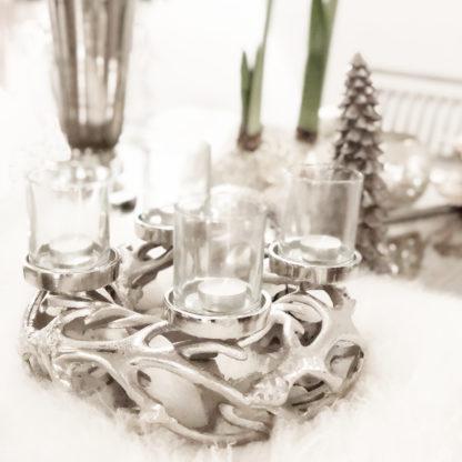 Kranz Adventskranz silber Äste Zweige Aluminium Metall Kerzenhalter Kranz mit Teelichthalter für 4 Kerzen