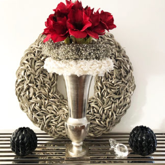 Pokal Vase Blumenvase Vase Silber Aluminium vernickelt massiv Aluminium vernickelt silber antik Metall massiv auf Sockel 52 cm Colmore Pokalvase Pokal Amphore Vase