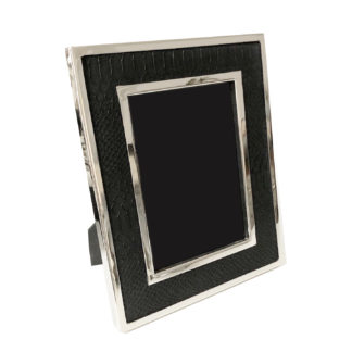 Bilderrahmen Edelstahl schwarz silber Leder Kroko Reptil-Optik mit Edelstahlrahmen 24x9x2 cm für 10x15 Bilder