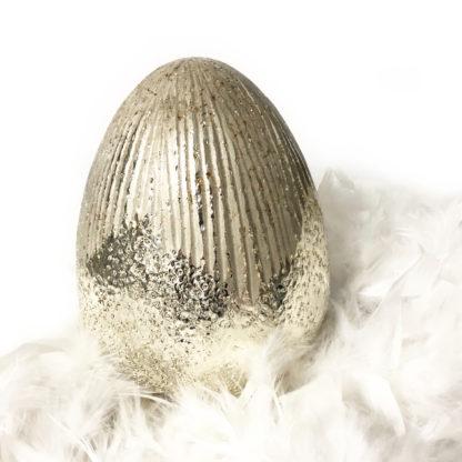 Osterei Ei Dekoei Glasei gold silber glittzer geriffelt Glasei Dekorations-Ei Osterei Ostern Osterdekoration für Nest Osternest Glasei gold silber edel XL 20 cm groß Osterei zum hinstellen