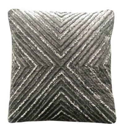 Kissen grau taupe mit Stickerei edel bestickt mit Glasperlen auf Samtstoff edel Glamour Luxus Kissen mit Inlett