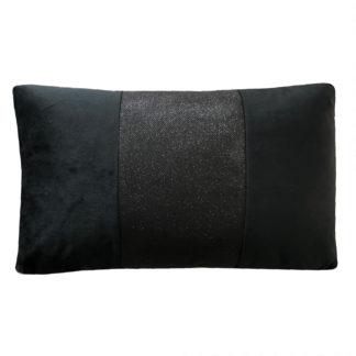 Kissen Samt schwarz Black Dekokissen schwarz mit Strass Glitter Effekt sehr edel länglich 30x50 cm Samt schwarz Samtkissen