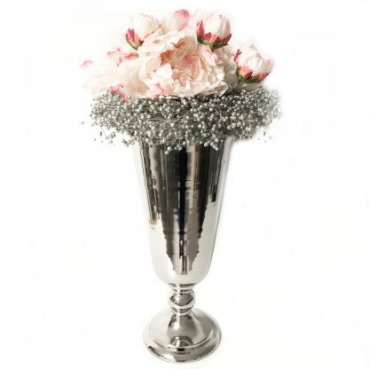 Pokalvase Vase auf Fuß Blumenvase silber Aluminium Kelchvase in zwei Größen silber Blumen Vase Pokal Vase Amphore
