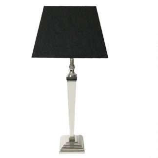 Tischlampe silber modern mit quadratischem Lampenschirm schwarz Tischlampe schwarz silber edel Lampenfuß silber Metall Edelstahl aluminium