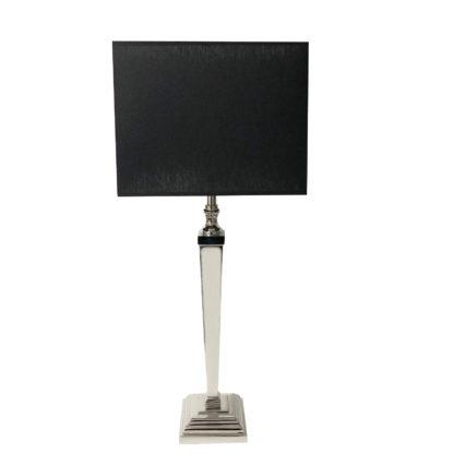 Tischlampe schwarz silber mit quadratischem Lampenschirm schwarz Chintz-Stoff Tischlampe schwarz silber Lampenfuß silber quadratisch Metall Edelstahl aluminium Licht Luxus Tischlampe
