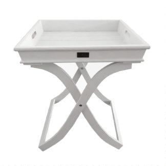 BEISTELLTISCH Tablett-Tisch weiß Servier-Tisch weiß klappbar Butler-Tisch Beistelltisch mit abnehmbarem Tablett quadratisch vierkant Shabby chic Landhaus SOMMERTABLETT SYLT-STYLE SOMMER