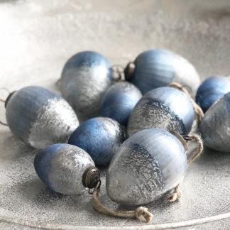 Deko-Ei Osterei silber blau grau Finish Glasei sehr robust zum Aufhängen edel Osterdekoration Ostern Frühling Osternest Ostereier blau silber