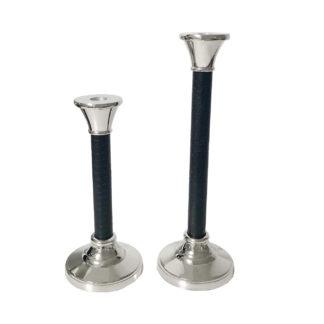 Kerzenständer Kerzenhalter silber schwarz Leder Metall glänzend edel Kroko-Optik von Hazenkamp Kerzenschein Licht Kerzenleuchter glänzend silber