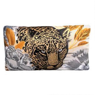 Kissen Tiger gold schwarz weiß bestickt länglich edel Originalgetreu animal print Dschungel Safari Wildniss Jungel Buch tropisches Klima Kissen Leopard