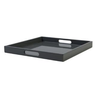 Serivertablett Lack Hochglanz grau graphite anthrazit Lacktablett Pianolack Klavierlack Tablett grau quadratisch 40 cm Gift Company Dekotablett mit Griff Tisch Essen Deko