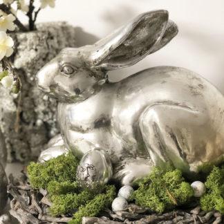 Osterhase Hase silber antik finish liegend Ostern Dekofigur Osterhase Osterdekoration Hase Kaninchen Frühling Dekolieblinge Dekoration Nest Kranz Kaninchen