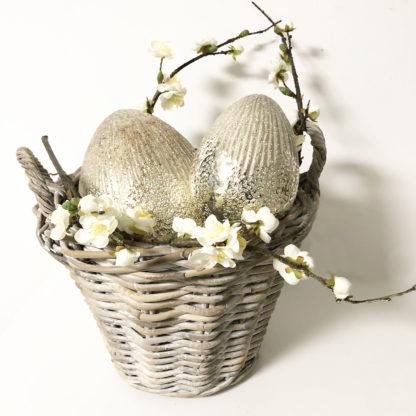 Korb Rattan grau gekalkt Bambuskorb mit Griffen Blumenkorb Ratten Bambus geflochten Korb zum aufbewahren von Sachen Korb rund Frühling Gartenartikel Terrasse Blumen Holzkorb Korb für Holz