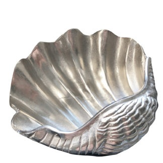 Schale Muschel-Form silber Aluminium Metall Maritim Sommer Dekoration Meerestiere Muschel-Figur Muschel Schale Meer