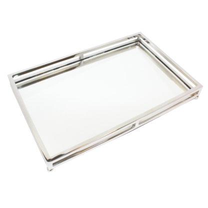 Tablett Glas Edelstahl Spiegeltablett Glastablett Serviertablett aus Glas weiß Glas Edelstahl