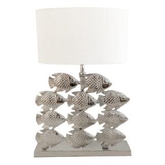 Tischlampe Fisch silber Metall Fisch Motiv Lampenfuß Lampenschirm Chintz weiß Sommer Lampe Maritim mediterran Dekoration Sommer Mittelmeer Sylt stil