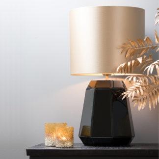 Tischlampe Lampenfuß schwarz Lampenschirm gold Lampenfuß aus Metall und Glas Lampenfuß Hector Ø19x26 cm edel von Light & Living Glamour Luxus Lampe Licht