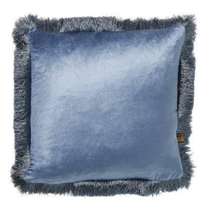 Kissen Samt Velour hellblau mit Keder Fransen edel Luxuskissen blau Dekokissen blau 45 cm mit Inlett Sommerkissen