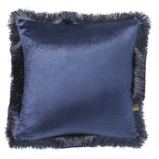 Kissen Samt blau Samtkissen blau mit Fransen edel Luxuskissen blau Dekokissen blau Sofakissen Samt blau Dekoration