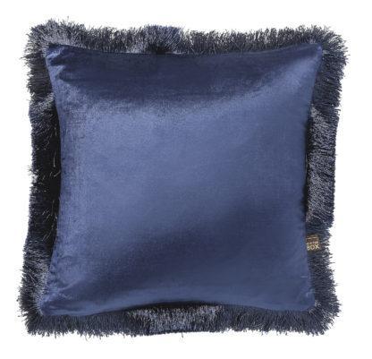 Kissen Samt Velour ROYAL BLAU mit Fransen Umrandung edel Luxuskissen royal blau Dekokissen dunkel blau
