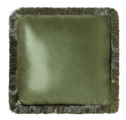 Kissen Samt Velour grün mit Fransen edel Luxuskissen grün olive grün Moosgrün Dekokissen Samtkissen grün von scatter box 43 cm mit Inlett Federkissen Luxus Kissen