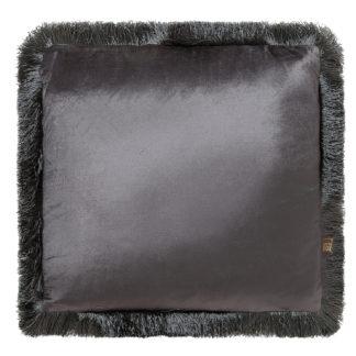 Kissen Samt Velour grau mit Fransen edel Luxuskissen grau Dekokissen Samtkissen grau von scatter box 43 cm mit Inlett Federkissen