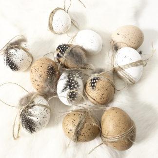 DEKO-EI OSTEREI beige weiß Hühnereier Natureier OSTERDEKORATION OSTERN DEKORATION OSTEREIER beige weiß mit Federn