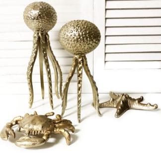 Deko-Figur Objekt Oktopus gold Metall zum Hinstellen maritim mediterran Sommer Dekoration Meer Meerestiere Oktopus Krake gold