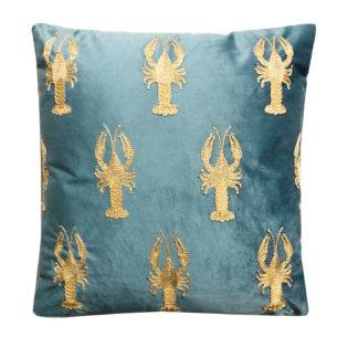 Besticktes Samt-Kissen Lobster Hummer gold blau Deko-Kissen blau türkis mit besticktem Meerestieren maritim Mediterranes Kissen blau türkis gold Sommer Meer Meerestiere HD Collection