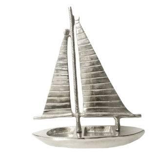 Deko Artikel Schiff Segelschiff Boot silber Aluminium Metall Sommer Strand Dekoliebling
