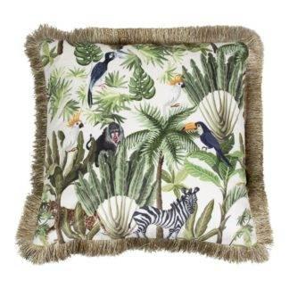Kissen Dschungel Papagei Zebra Palmen Blumen grün weiß gold Dekokissen Dschungel Exotik
