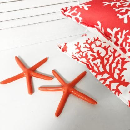 Deko Kissen Motiv Koralle rot weiß 2er Set beidseitig bedruckt Sommerkissen Sommer Meer Koralle