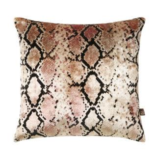 Samt Kissen Schlange Viper rosa Luxus Kissen mit Muster Schlange Viper Dschungel animal Print Sommerkissen
