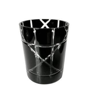 Teelichhalter schwarz Glas geschliffen mit Gravur edel Luxus Teelicht Kristall Glas schwarz Cut von Cor Mulder