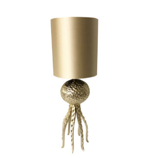 Tischlampe gold Oktopus Tarantel gold in Oktopus Motiv Lampenschirm Monaco gold Luxus Lampe Light and Living