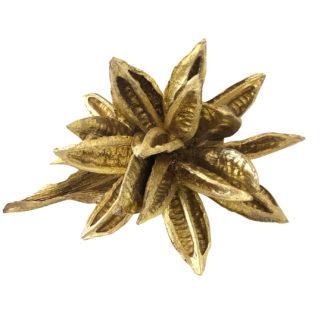EXOTISCHE TROCKENBLUME SOROROCA Head Strelitzie Blume BLÜTE getrocknet gold Glitter Deko-Blume gold Trockenblume Dekoration festliche Tischdekoration