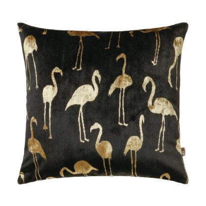 Kissen Flamingo schwarz gold beige quadratisch Samt Leinen Luxuskissen animalprint Sommerkissen Tierkissen mit goldenen Flamingos 43 cm