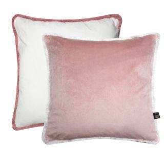 Kissen rosa weiß creme Samt Wendekissen rosa Dekokissen Velvet rosa weiß mit Fransen Sommerkisen Kissen mit Glamour Wendekissen mit Keder aus Fransen Dekokissen