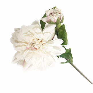 Kunstblume Blume Dahlie weiß zart rosa wie echt Seidenblume Blumenstrauß edel 85 cm Blumen für Muttertag schenke Blumen Dekoration Dahlie weiß