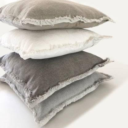 Leinenkissen 100% Baumwolle Leinen Dekokissen Leinen in weiß grau taupe beige Sand Ton 45x45 cm mit Inlett Sommerkissen shabby chic